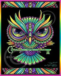 owl key psychedelic rainbow trippy hippie crystowl signed