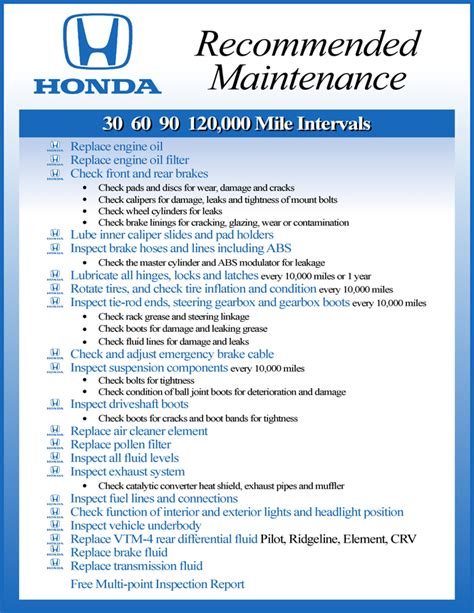 2013 honda civic maintenance schedule chart the