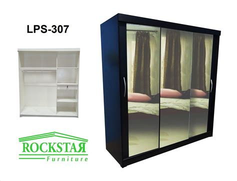 Lemari Hpl jual lemari pakaian hpl sliding 3 pintu hitam gliter kaca 3 pintu lps 307 rocket furniture