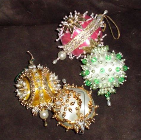 sequin ornament kits 4 vintage beaded sequin ornaments lot handmade