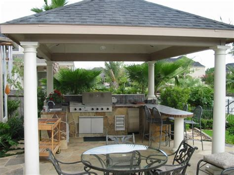grill pavillon holz backyard patio covered outdoor kitchens and bars