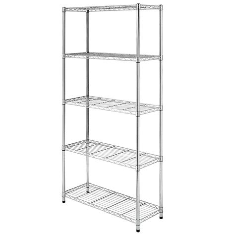 Chrome Black 5 Shelf Steel Wire Tier Layer Shelving 72x36x14 Quot Storage Rack Ebay Wire Shelving Installation Template