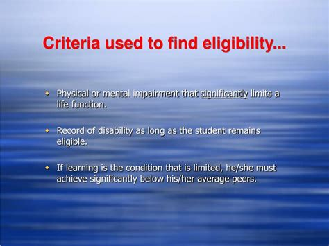 section 504 eligibility criteria ppt section 504 powerpoint presentation id 392357
