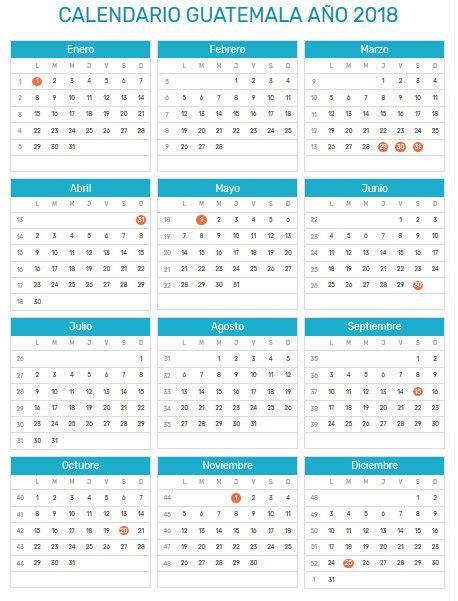 Calendario Guatemala Calendario 2018 Caledarios 2018 Para Imprimir