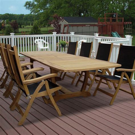 royal terrace outdoor furniture royal teak collection florida 8 person sling dining set w 118 inch expansion table folding