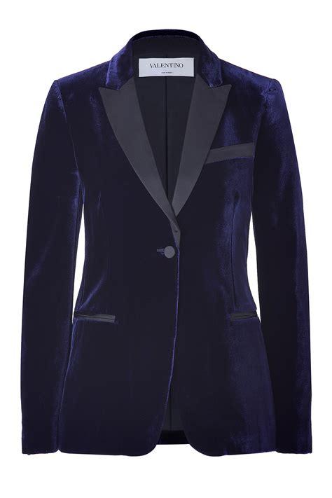 Blue Black Blazer valentino blue black velvet tuxedo blazer in blue lyst