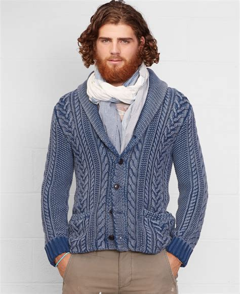 blue cable knit cardigan denim supply ralph cable knit shawl cardigan in