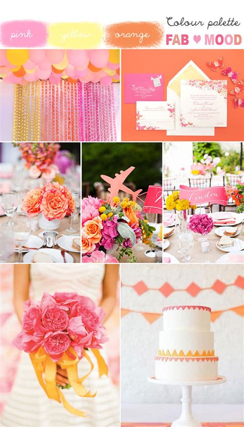 pink orange yellow wedding summer wedding colors
