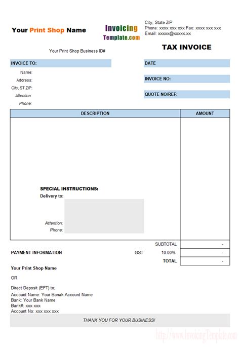 invoice design and printing download free tax invoice template for printing shop by