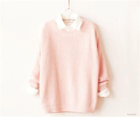 light pink oversized sweater sweater pink white oversized sweater shirt