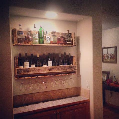 rustic wine rack liquor shelf w glass holder more