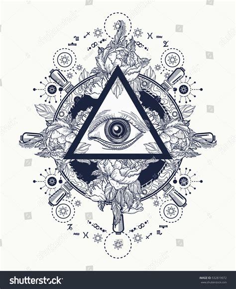 all seeing eye pyramid tattoo art stock vector 532819972