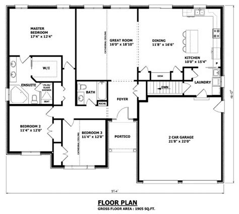 take out bed 3 to make open dining area turn bed 2 into 1905 sq ft the barrie house floor plan total kitchen