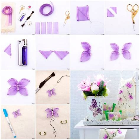 diy decorations ribbon diy beautiful embroidered ribbon butterfly