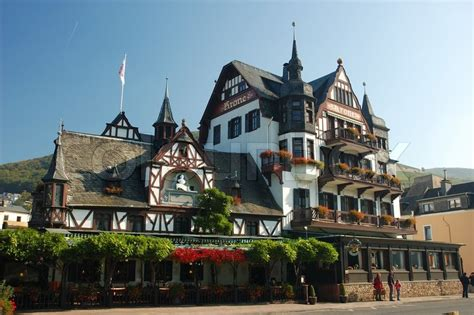 half timbered house plans half timbered house with a hotel in germany stock photo colourbox