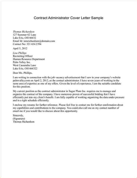 cover letter for contract agreement letter sle for contract business