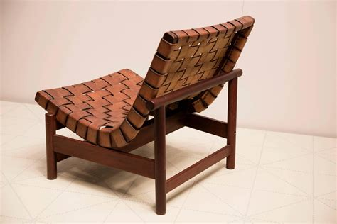 leather woven chair 1950s lounge chair in woven saddle leather and cuban mahogany by dujo cuba at 1stdibs