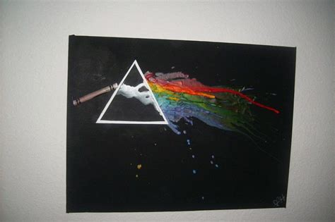 pink floyd inspired melted crayon art  piece  melted