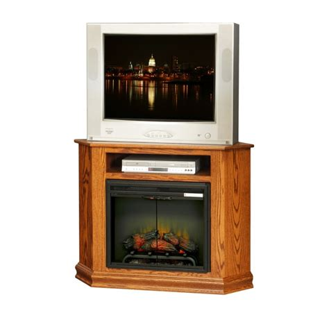 corner tv stand w fireplace country furniture