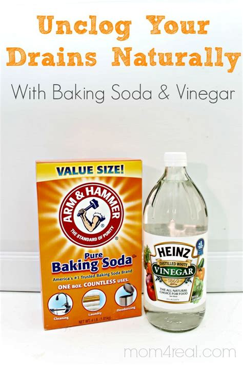 unclog your drains with baking soda and vinegar