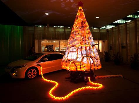 christmas tree electric parts gary card s electric tree is made from recycled chevy volt parts inhabitat green