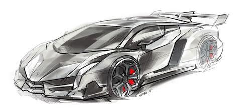 lamborghini veneno sketch dino car design