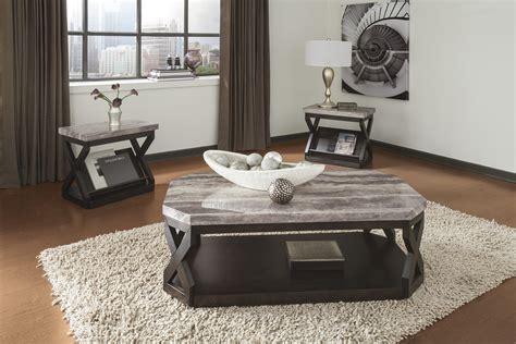 Table Sets Living Room T568 13 Radylin Faux Marble Top Three Coffee Table Set