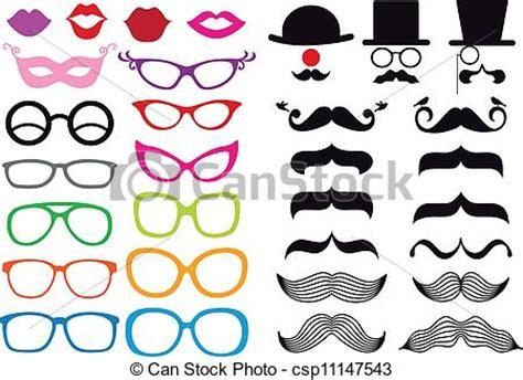 clipart occhiali vettore set occhiali baffi enorme set vettore