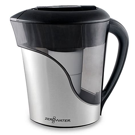zero water pitcher zerowater 174 8 cup stainless steel pitcher with tds meter www bedbathandbeyond