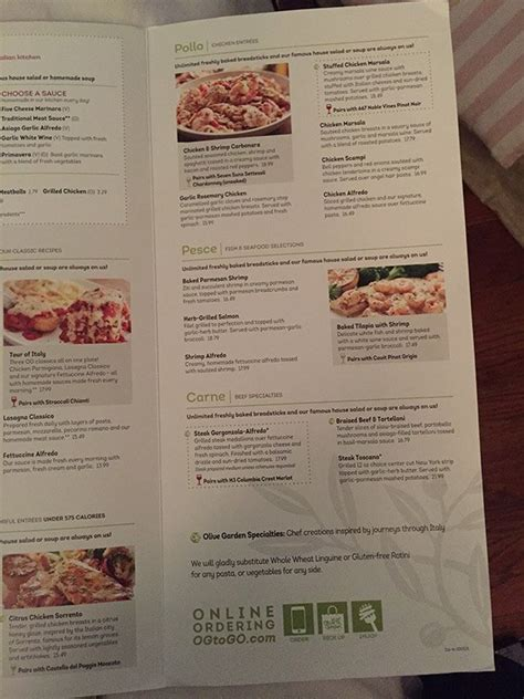 olive garden menu prices  meal items details cost