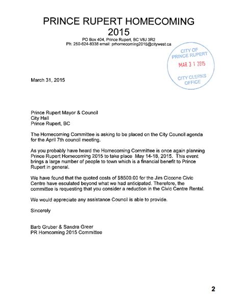 Letter For Rent Request coast review homecoming committee has concerns rent of civic centre for may event