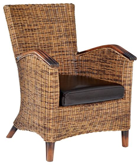 Rattan Accent Chair Bicast Leather Rattan Accent Chair