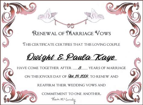vow renewal certificate template wedding vow renewal certificates free like success
