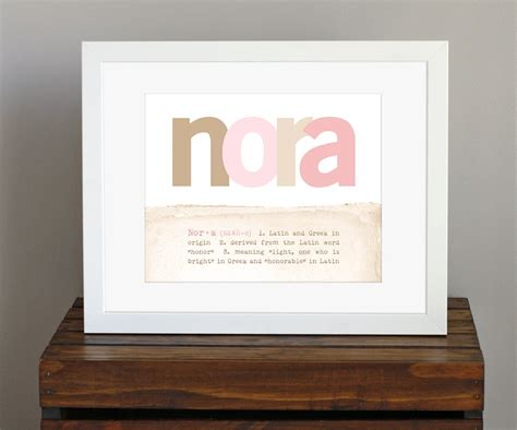 customized baby name art print with name meaning