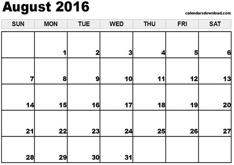 2016 Calendar August Blank 2016 Monthly Calendar May June July August