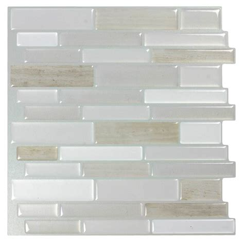 peel and stick wallpaper tiles shop peel stick mosaics peel and stick light silk linear mosaic composite wall tile common 10