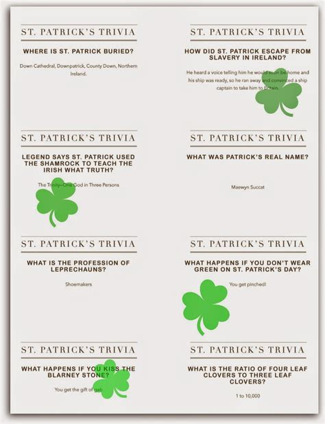 st trivia around the table book st s day up and