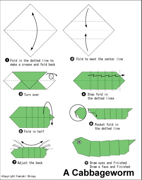 How To Make A Paper Worm - origami cabbageworm