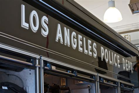 los angeles police department sign  stock photo