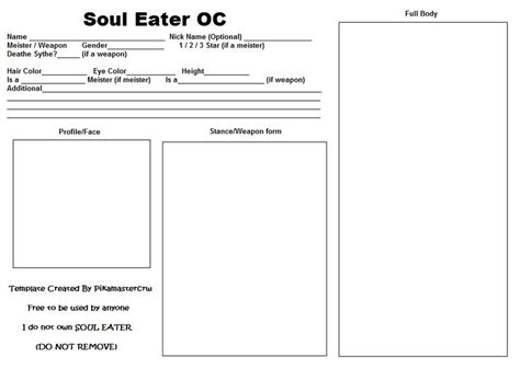 my oc card template soul eater oc template by pikamastercrw on deviantart