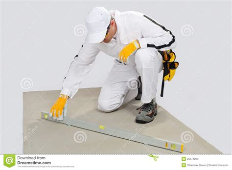 Background Check Levels Worker Checks Levels Of Cement Base Royalty Free Stock Images Image 25671229