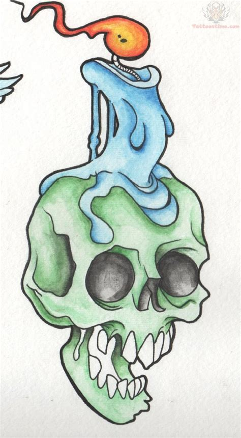 candle tattoo designs candle melting on skull design