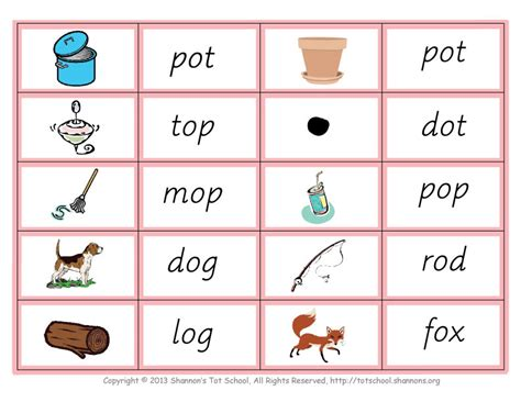 printable montessori language cards free montessori pink series word and picture cards