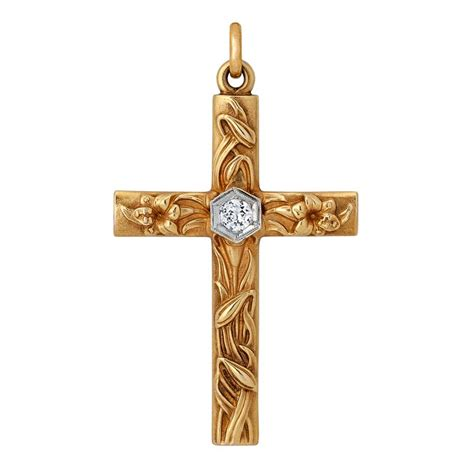Handmade Cross Necklaces - nouveau handmade and gold cross pendant at 1stdibs