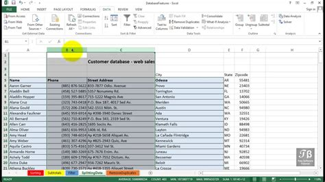 excel tutorial beginners 2013 splitting data into multiple columns excel 2013 beginners