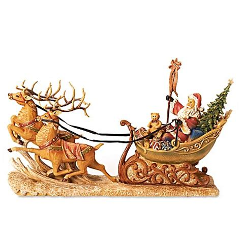 buy 24 inch santa in sleigh figurine from bed bath beyond