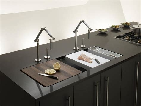 Install A Kitchen Faucet Trough Sinks For Efficient Bathroom And Kitchen Ideas