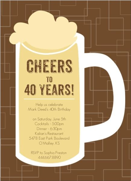 40th birthday invitation card brown beers cheers 40th birthday invitation 40th
