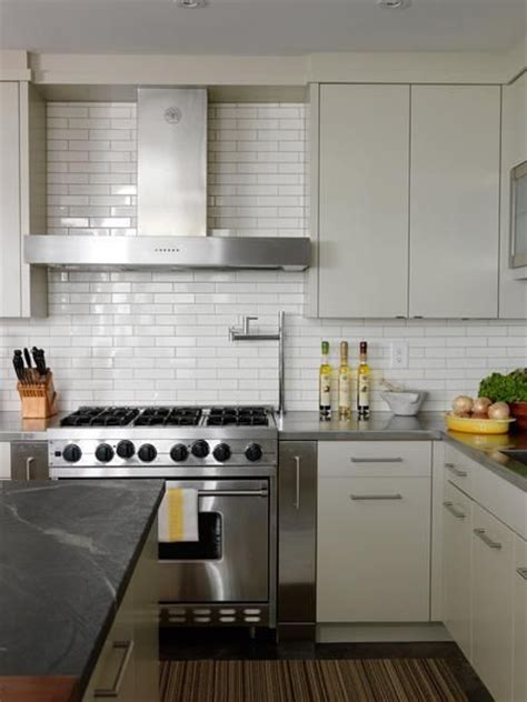 Modern Kitchen Backsplash Cameron Macneil Modern White Kitchen Design With Soft Gray Modern Cabinets White Subway