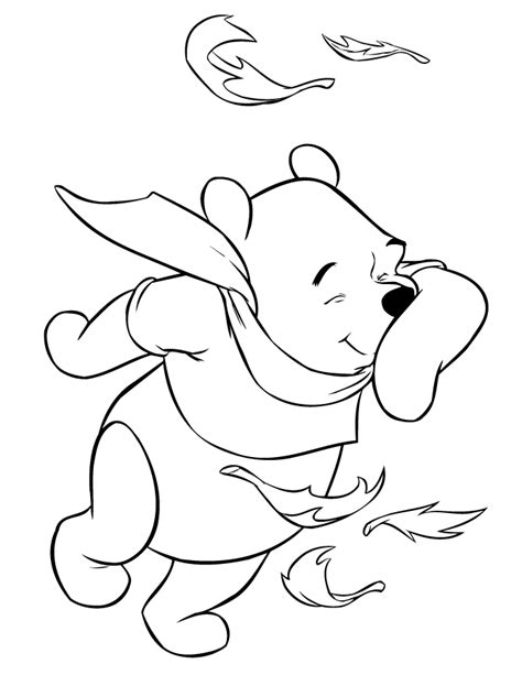 winnie the pooh coloring page autumn winnie the pooh in the fall wind coloring page h m